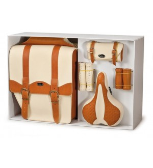 Pannier Bag Saddle Bag & Saddle Gift Set (Tan & Cream)